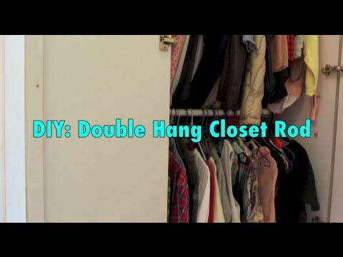 diy double closet rod hanger youtube. Black Bedroom Furniture Sets. Home Design Ideas