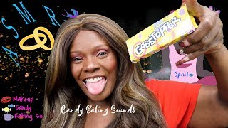 Easy Makeup ASMR Eating Jaw Breakers And Fire Ball With Rambler Sou...