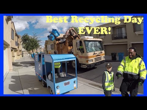 BEST Recycling Truck Day EVER! - Boy Shares His Passion for Recycling With Truck Driver Friend!