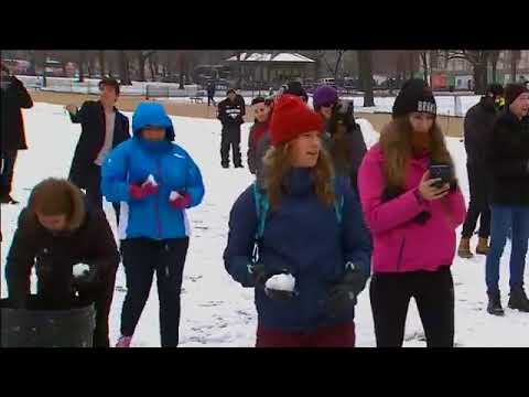 Snowball fight at the National Mall