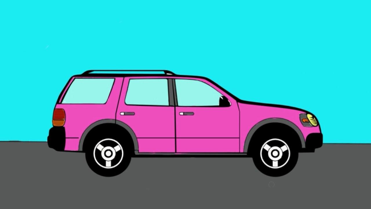 Coches. Colorear un SUV rosa. Dibujos animados para los niños - YouTube