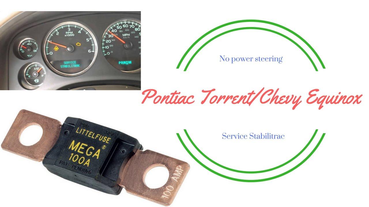 2006 Gmc Fuse Box Loss Of Power Steering Torrent Equinox Youtube