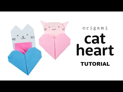 Origami Cat Heart Tutorial - Collab with Origami Tree - Paper Kawaii