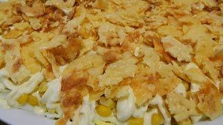 """Салат """"Сырный чипсик"""". Салат с копченой куриной грудкой. Салаты."""