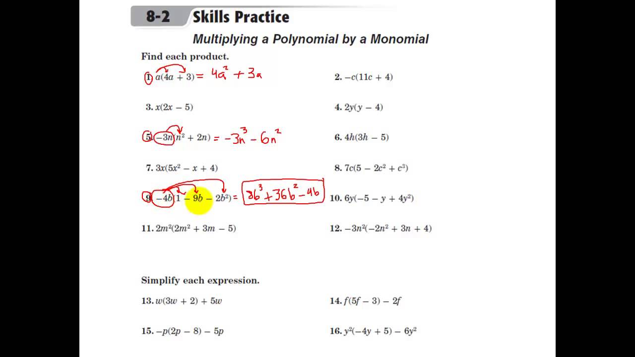 Glencoe Algebra 1 Multiplying a Polynomial by a Monomial – Glencoe Algebra 1 Worksheets Answer Key