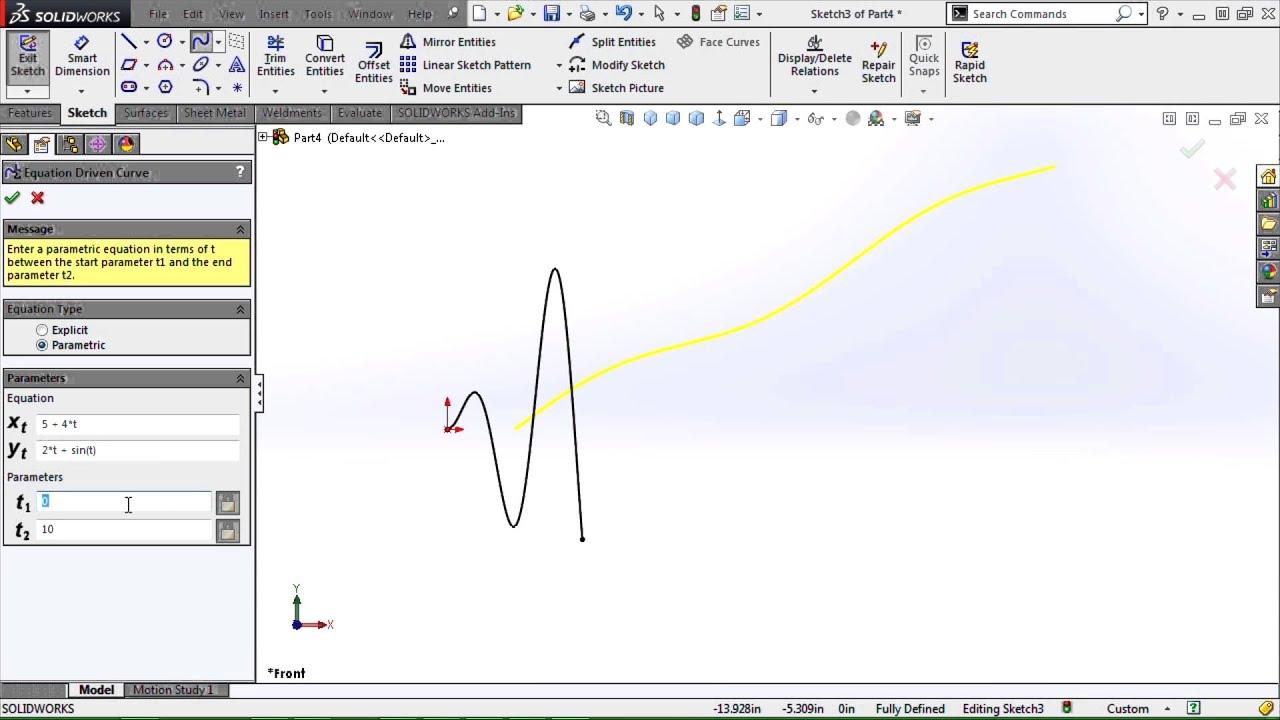 SOLIDWORKS - Equation Driven Curve Tool