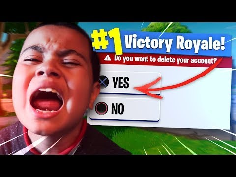 DELETING MY 9 YEAR OLD LITTLE BROTHERS FORTNITE ACCOUNT PRANK! NO MORE SKINS OR VBUCKS!! *HE RAGED!*
