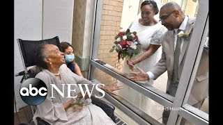 Nursing home resident watches daughter's wedding from window | ABC News