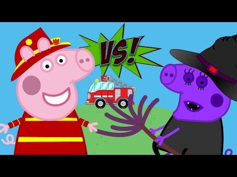 Peppa Pig En Español // Peppa Pig La Bombera Vs Bruja