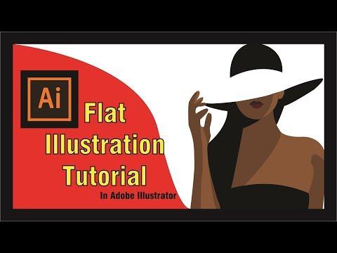 Girl with hat illustration ||  flat illustrator tutorial thumbnail