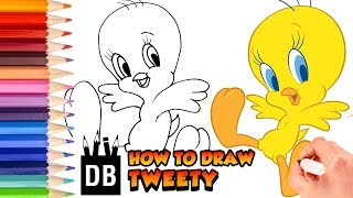 How to Draw Tweety Easy - Looney Tunes Tweety Drawing | 4 Kids