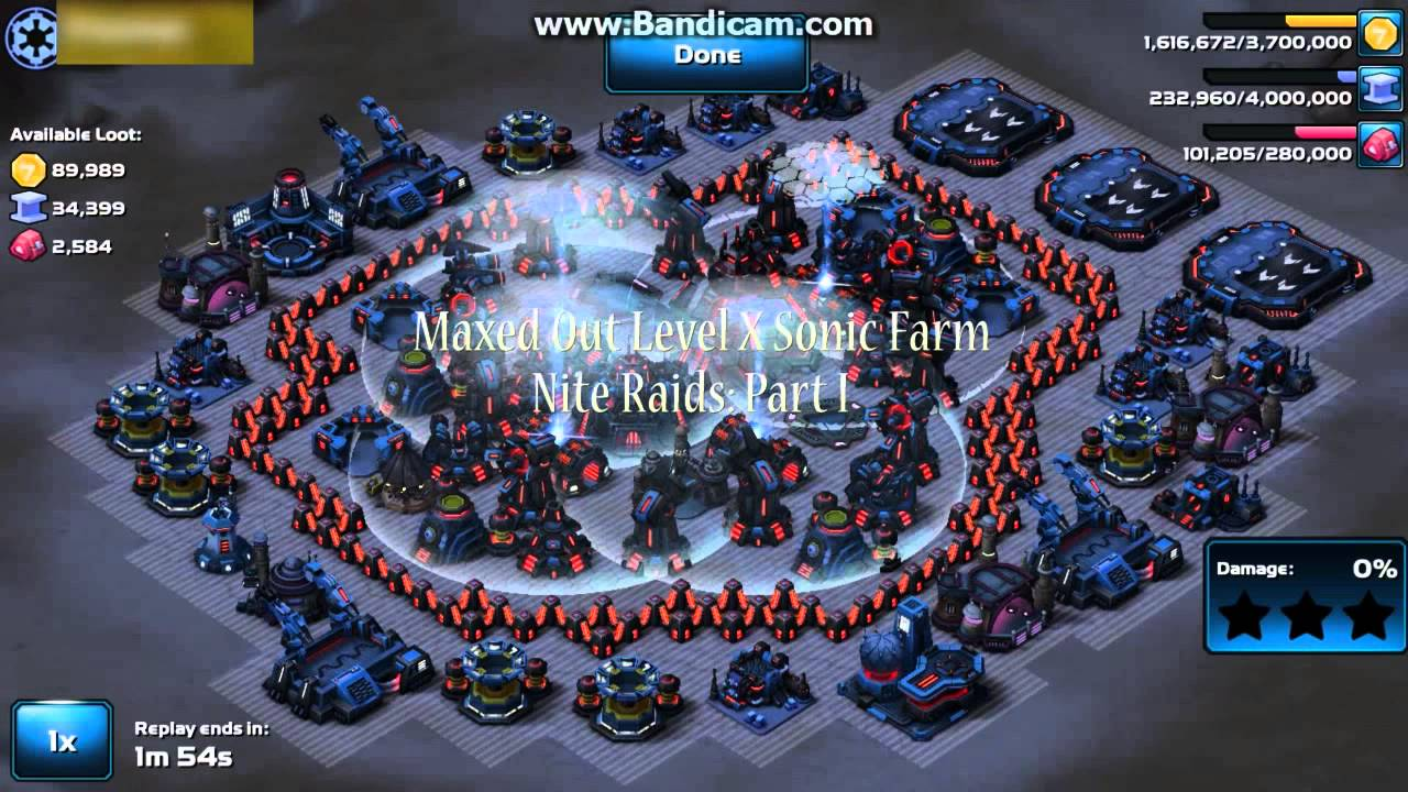 Star Wars Commander-Attacking Maxed Out Level X Imperial Sonic Farm-Night  Raids: Part I