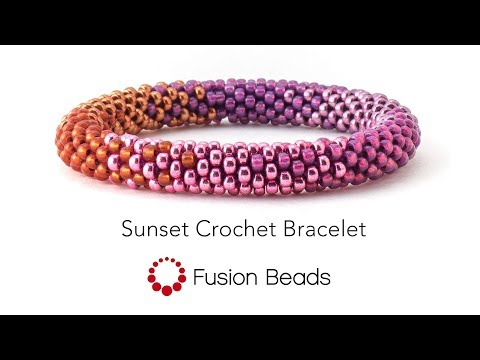 Learn how to create the Sunset Crochet Bracelet by Fusion Beads
