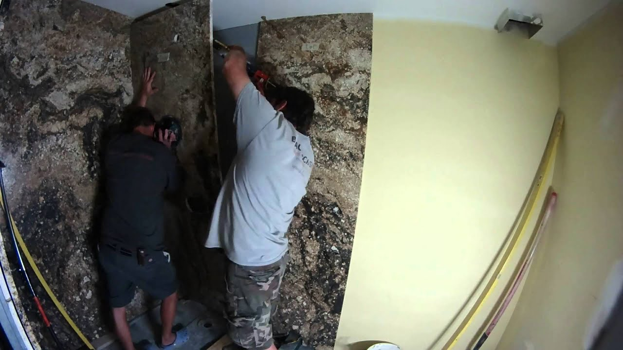 Granite Slab Shower Fabrication   YouTube