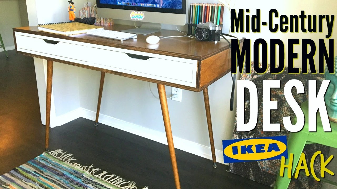 Credenza Desk Ikea : Diy mid century modern desk ikea hack youtube