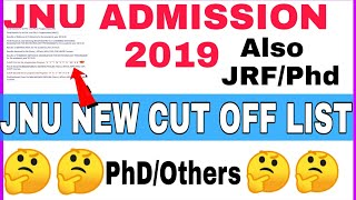 Jnu New Cut off List V/S Old Cut off List|| PhD cut off List