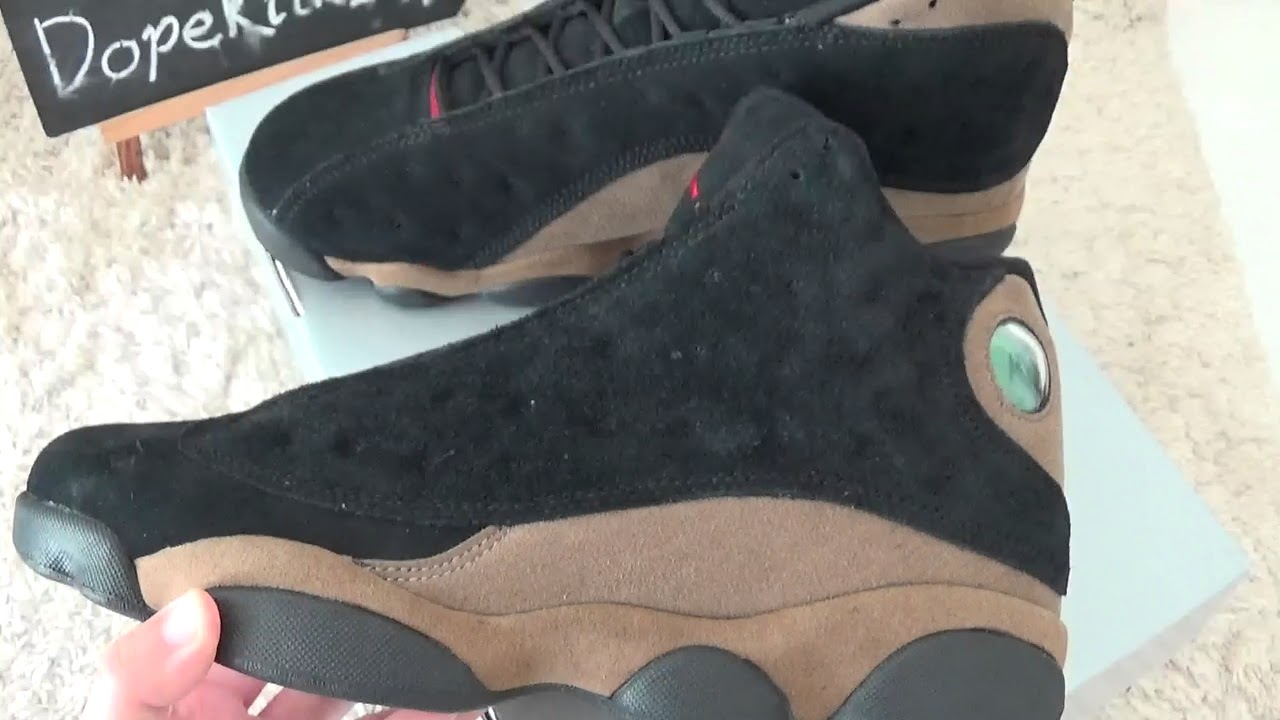 6c641ff11d1 Authentic Air Jordan 13s Olive/Black Review from Dopekickz23 - YouTube