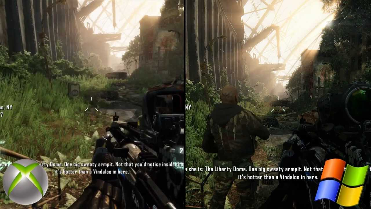 Crysis 3 graphics comparison pc maxed settings vs xbox 360 1080p hd versus youtube