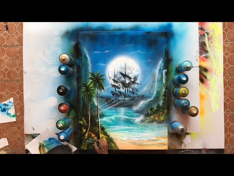 Pirate ship Spray paint art on canvas painting