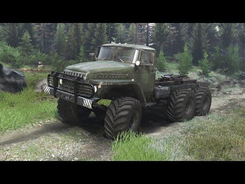 Spintires | Ural 4320 Camión Ruso | Cargando troncos por el bosque! Sacamos la artillería pesada