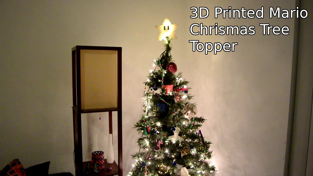 3D Printed Super Mario Star Christmas Tree Topper With LED