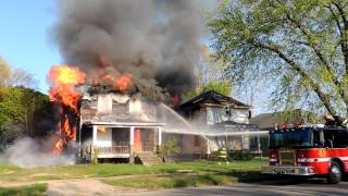 An abandoned home fire & collapse, 800 block of Pavone, Benton Harbor.