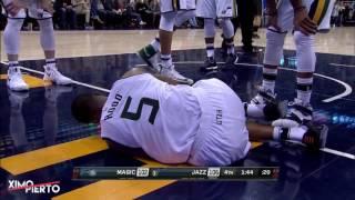 Rodney hood scary knee injury   magic vs jazz   january 14, 2017   2016 17 nba season