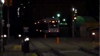 NJT Hudson-Bergen Light Rail Non-Revenue 3 car (LRV) Train Move passing through Marin Blvd