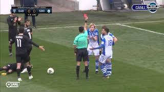 Moldova International midfielder Evgeniy Cociuc gets direct card for reckless challenge