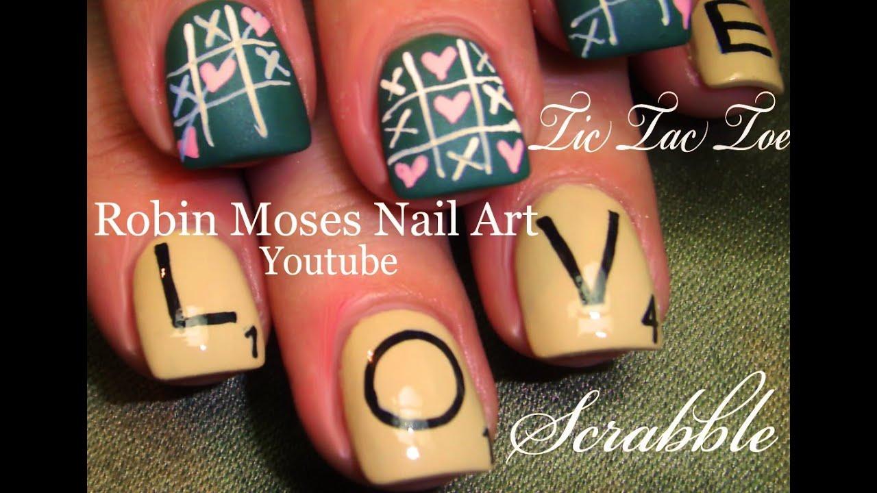 Tic Tac Toe Scrabble Board Game Nails 2 Easy Valentine Nail Art