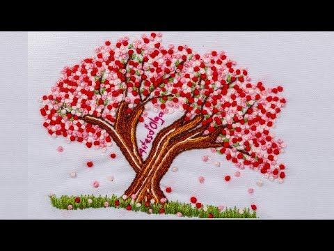 Sakura: Japanese Cherry Blossom Tree Embroidery Arbol de cerezo bordado a manoArtesdOlga