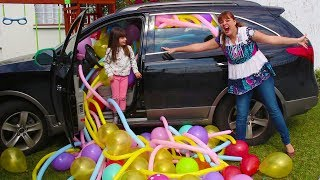 ENCHEMOS DE BALÕES O CARRO DA MAMÃE - BALLOONS PRANK IN MY MOM's CAR