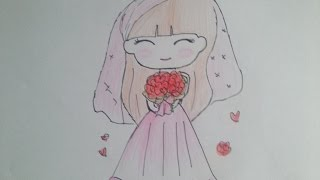 How to Draw a Cute Girl With Wedding Dress   How to draw a Manga girl  Drawing Animes With Pencil#1