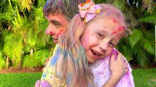 Nastya e pai jogam jogos divertidos para evitar o tédio emcasa