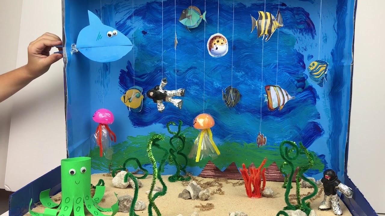 Kids Diorama With Details: Beach And Ocean Diorama Box Ideas Kids T Art Diorama