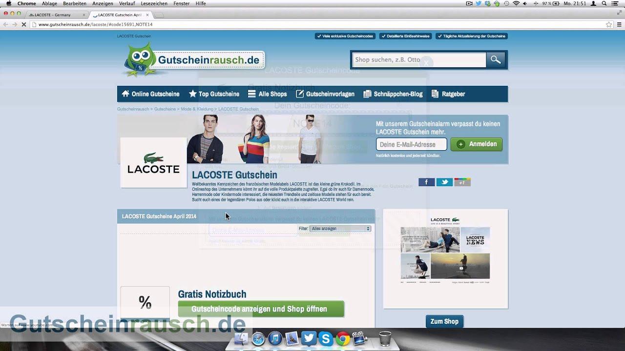 online retailer a1194 cbd78 LACOSTE Gutschein einlösen
