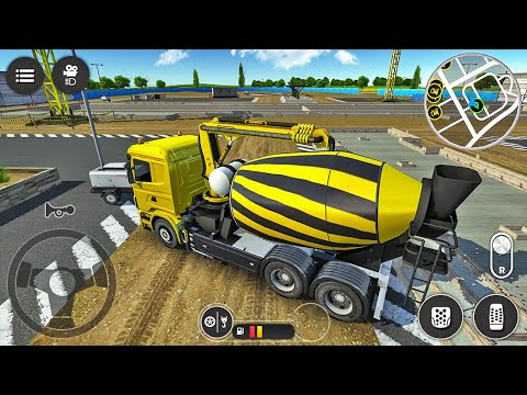 Cement Mixer Truck Driving Simulator - Filling Concrete At Construction Site - Android Gameplay