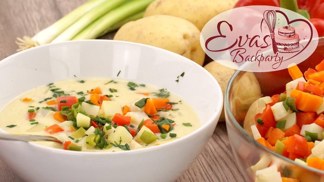 kartoffel suppe mit gem se einlage vegetarisch herbst rezept kochen evasbackparty youtube. Black Bedroom Furniture Sets. Home Design Ideas