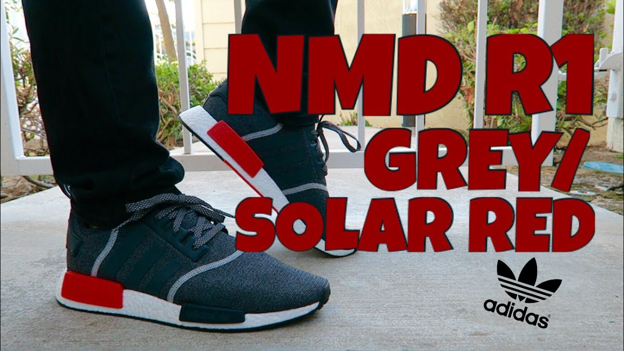 ca44fcc54 NMD R1 GREY SOLAR RED + ON FEET!!! - YouTube