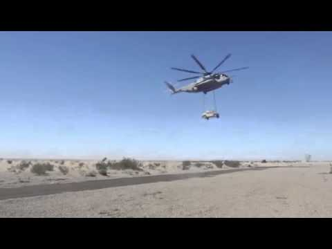 The Biggest US Helicopter Show its Muscles CH 53E Super Stallion Lifting a 14 tons APC !