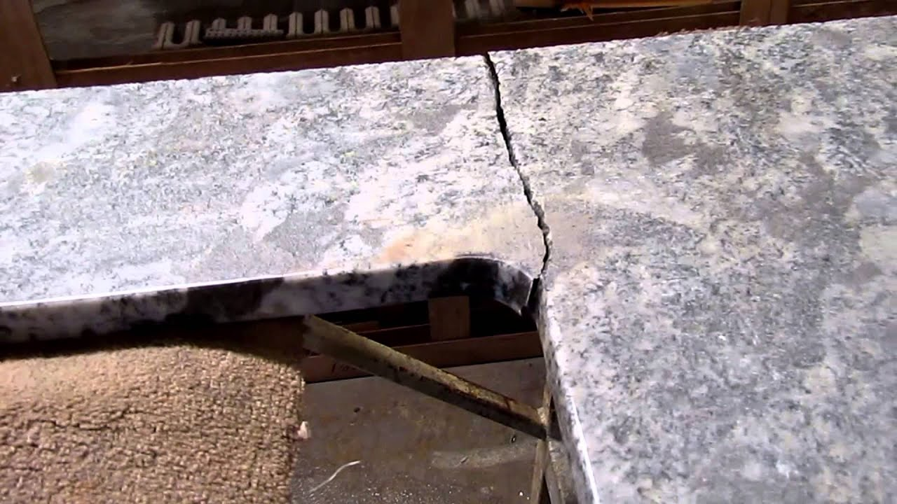 How To Repair A Chip In Granite Countertop Broken Granite Countertop Before And After Being Repaired