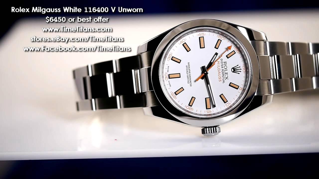 Rolex milgauss white 116400 v unworn youtube for Rolex milgauss