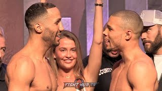 JAMES DEGALE & CHRIS EUBANK JR SHARE WORDS AT FACE OFF! BOTH MAKE WEIGHT FOR GRUDGE MATCH IN LONDON