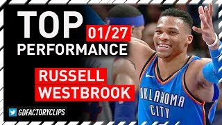 Russell Westbrook Triple-Double Highlights vs Pistons - 31 Pts, 11 Reb, 13 Ast | 2018.01.27