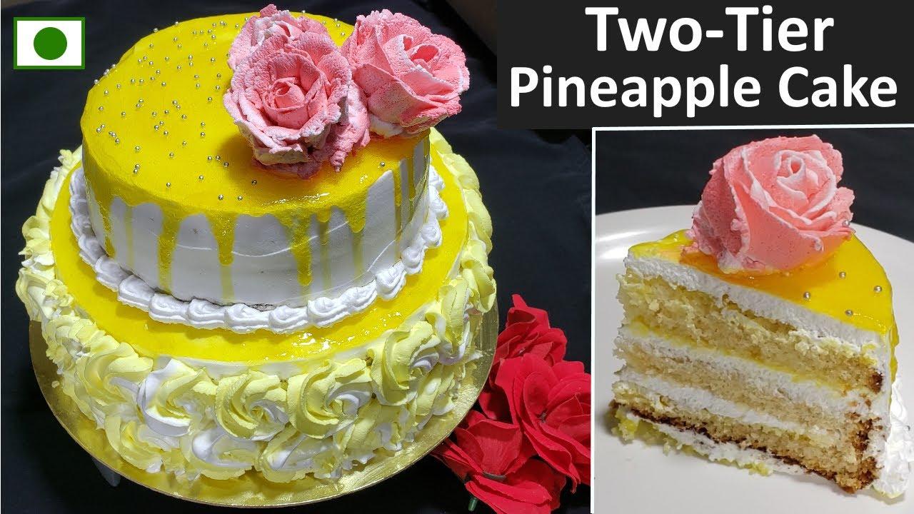 बिना अंडा बिना ओवन two Tier Pineapple cake बनाने का आसान तरीका टिप्स के साथ | 2 Kg Pineapple cake
