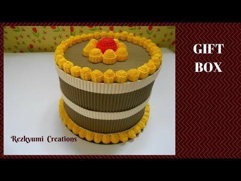 DIY Kokoru Paper Craft : Cake-shaped Gift Box //  Kotak Kado Bentuk Kue