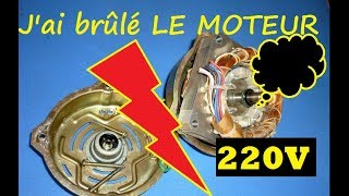 moteur machine a laver branchement  3 fils sur 220 v direct