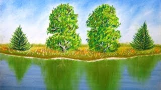 How to draw landscape with trees and reflection on water - Time Lapse - Pastel Painting