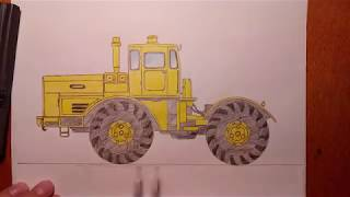 Как нарисовать трактор К700 Кировец