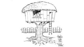 Desenhando uma casa na árvore com Tiburcio